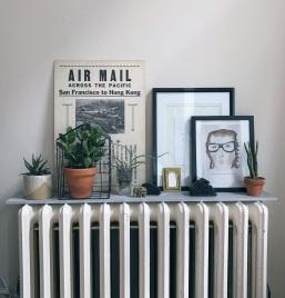 cheap porcelain slabs make great radiator shelves