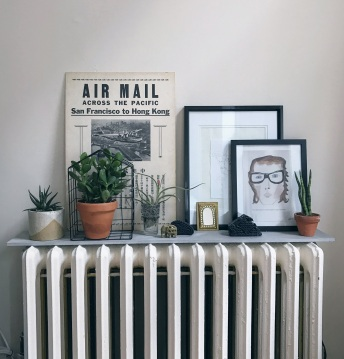 cheap porcelain slabs make great radiator shelves
